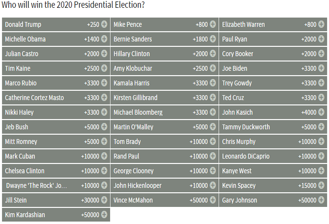 Bovada 2020 US Election Odds