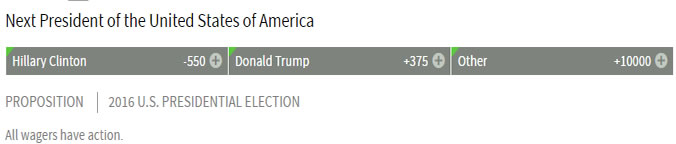Bovada Odds on The Next President Of The USA